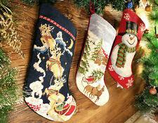 Needlepoint Christmas Stocking Beautiful Sleigh Snowman