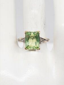 Antique 1940s RETRO 5ct Green Beryl Diamond FRENCH CUT 10k Yellow Gold Ring