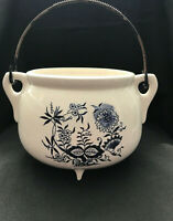 Unique Blue and White Planter with Floral Design and Metal Handle Kettle Like