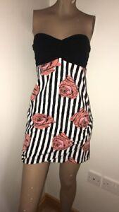 Motel Floral Dress Size Small S Strapless 10 Rose Stripe EUR 38 Bandeau Topshop