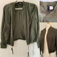 KAHKI GREEN Size 12 BOMBER Silky Style Zip Up Jacket H&M
