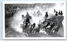 1950s Calgary Stampede Chuck Wagon Horse Race Canada Real Photo Postcard C20