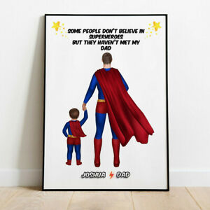 Personalised Father & Son/ Daughter Superdad Hero Picture Word Art Print Gift