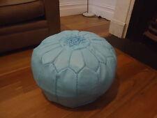 Moroccan Leather Ottoman Pouffe Pouf Footstool In Sky Blue