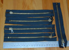 "Vintage Zippers x5 NEW Condition 1990 18 cm / 7"" Metal Cotton Jeans Clasp Locker"