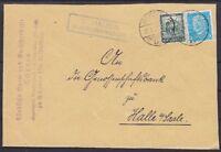 DR Mi Nr. 454, 459 MiF Brief mit Posthilfsst. Schauen Heudeber Land - Halle 1932