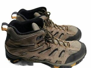 Merrell Mens Moab Mid Ventilator Hiking Trail Boots Brown Leather Lace Up 13