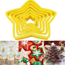 6pcs Star Shape Cookie Biscuit Cutter Mold Plastic Fondant Cake Decorating Tool