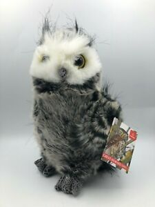 Aurora Barney The Great Horned Owl Grey Bird Plush Stuffed Toy Realistic Animal
