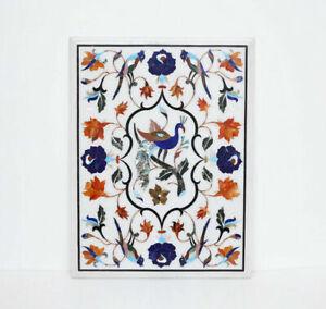 "18"" x 15"" Marble Table Top Handmade Semi precious stones Inlay Home Decor"