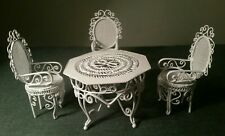 Dolls House Emporium White Metal Table And 3 Chairs Perfect For A Conservatory