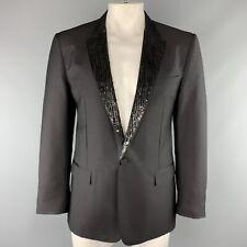 VIKTOR & ROLF Size S Black Beaded Mohair Blend Peak Lapel Tuxedo Sport Coat