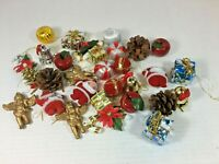 Lot Of 30 Christmas Mini Ornaments Craft Items Santa Angel Pine Cone Candy Cane