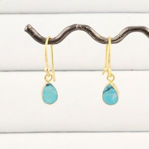 Natural Tiny Arizona Turquoise Yellow Gold Electroplated Drop Dangle Earrings