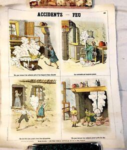 Accidents Feu, Les Fils d'Emile Deyrolle, Poster Rare