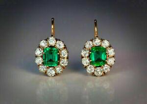 4Ct Green Emerald & Diamond Vintage Drop Dangle Earrings 14K Yellow Gold Finish