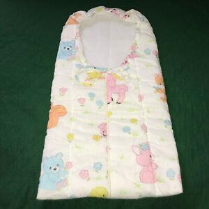 Vintage Baby Bunting Quilted Crib Nursery Zip Front Sleep Bag Blkt Pastel Animal