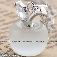 Birthday Gifts for Her 925 Sterling Silver Apple White Moonstone Necklace J481B
