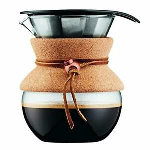 Bodum Pour Over Coffee Maker 17 Ounce.5 Liter Cork Band Stainless Steel 1 Pc