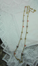 """SIGNED AK Anne Klein goldtone 36"""" long beaded necklace Peach Gold brown Pearly"""
