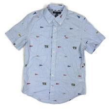 Tommy Hilfiger Mens Button Down Shirt Custom Pennant Logo Striped Blue White