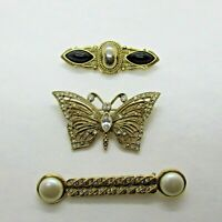Vintage 1928 Pin Brooch Lot of 3 Butterfly and Bar Pins Gold Tone Rhinestone