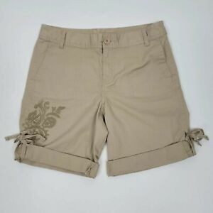 Style & Co Shorts Bermuda Womens Petite 8P Stretch Embroidered Roll Up Cuff