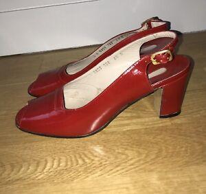 SALVATORE FERRAGAMO NWOB UK4 ? RED PATENT 1970'S PEEP TOE SLING BACK SHOE