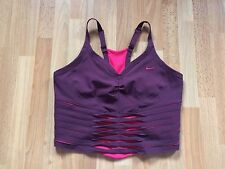 Stunning Ladies Nike DRI-FIT Aubergine/Plum & Coral Mesh Sports Bra -Size Small