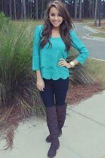 Women Girls Casual Long Sleeve Loose Casual T-shirt Tops Shirt Blouse Blue S