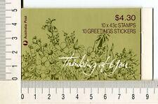 41215) AUSTRALIA 1990 MNH** QEII 43c (x10) Flowers Booklet  - 8 stickers