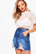 Boohoo Lucy Denim Ladder Fray Hem Mini Skirt Size UK 6 LF083 PP 22