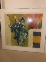 Nicola Simbari Embossed Color Serigraph Large Signed Deux Clowns Framed Artwork