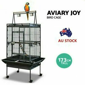 173cm Large Bird Cage Pet Parrot Aviary Stand-alone Budgie Perch Castor Wheels