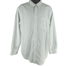 CHAPS White & Blue Striped Long Sleeve Button Down Shirt Men's Size Large
