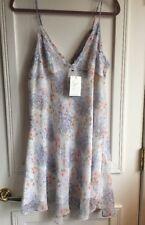 Joie Caspara Dress Size Large Porcelain Pale Floral Print 100% Silk