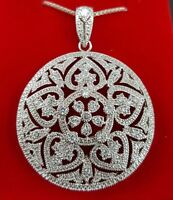 """925 STERLING SILVER ROUND PENDANT W/18"""" 925 STERLING SILVER BOX CHAIN NECKLACE"""