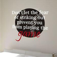 Wall Vinyl Word Art Decal - Fear Striking Out Baseball