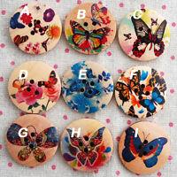 9 Zakka Floral Wood Sewing Button Flower Butterfly 3cm