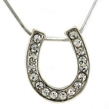 Western Lucky Horseshoe Necklace Chain Clear Crystal Rhinestone Designer Pendant