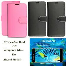 Tempered Glass Screen Protector or PU Leather Book case for your Alcatel Phone