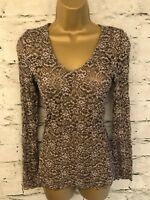 Kaliko Ladies Khaki Brown Lacy Stretch Fitted Top UK 10 US 6 EU 38