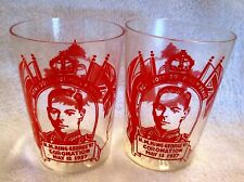 1937 Coronation King George VI Glass Tumblers Lot of 2 c