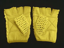 Leather Crochet Cycling / Bicycle Gloves - Vintage    Yellow