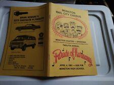 Moncton Rail City Chorus 12th Parade of Harmony 1981 Program Booklet