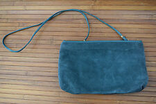 Women's Dark Pine Green Suede Leather Clutch Bag Purse with Shoulder Strap