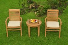 3pc Grade-A Teak Dining Set Noida Round Side Table 2 Mas Stacking Arm Chair