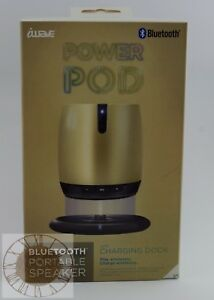 iWave Power POD Bluetooth Wireless Charging Speaker SP58031-GD, New