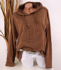 Italy Shirt Sweatshirt Hoodie 40 42 44 braun Kapuze NY 3D Oversize Damen Motiv