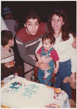 Vintage 80s PHOTO Young Couple w/ Toddler Baby & Smurf Birthday Cake